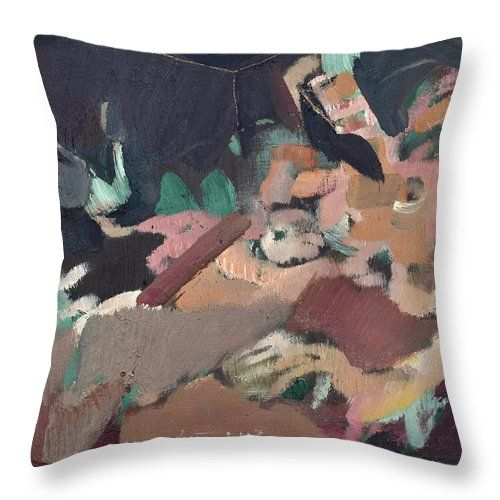 Nude Throw Pillow featuring the painting In The Room by Nikolay Malafeev