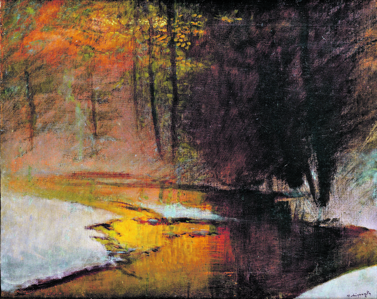 Christmas and winter time by famous Slovak artist - Ladislav Mednyanszky - Glossy shine in winter forest ( around 1900) kultura.sme.sk