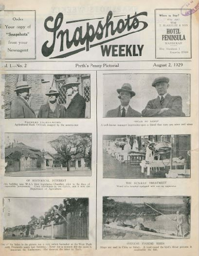 Snapshots weekly : Perth's penny pictorial, 1929.  http://encore.slwa.wa.gov.au/iii/encore/record/C__Rb1752006__Ssnapshots%20weekly__Orightresult__U__X8?lang=eng&suite=def#attachedMediaSection