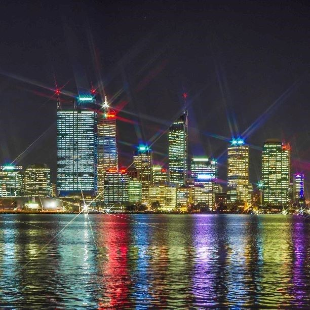Stunning night lights captured by Simon in South Perth. Look at those colours! #CaptureTheCover #Perth #lights #city #colours #city