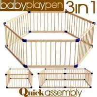 Baby Kids Toddler Natural Wooden Playpen 6 Panels