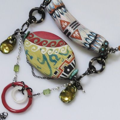 Detail of handpainted beads in necklaces, (beads by the artist) www.carolinetrask.com