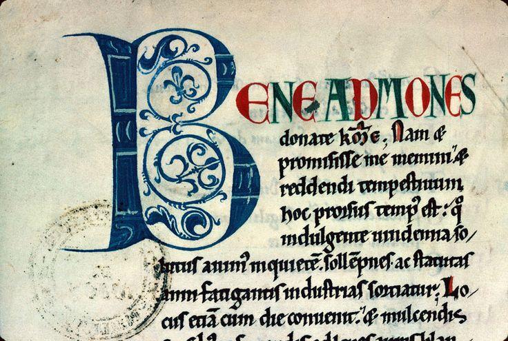Bibliothèque municipale de Dijon - ms. 0124, f. 002v Recueil / Initiale de couleur ornée « cliché CNRS - IRHT »