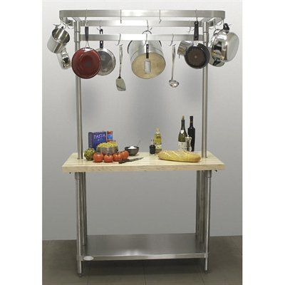 A Line By Advance H2s Sct Maple Top Chef Table Pot Rack Kitchen Island