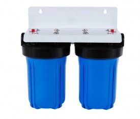 """Country Whole House Big Blue High Flow Twin 10"""" x 4.5"""" Water Filter System"""