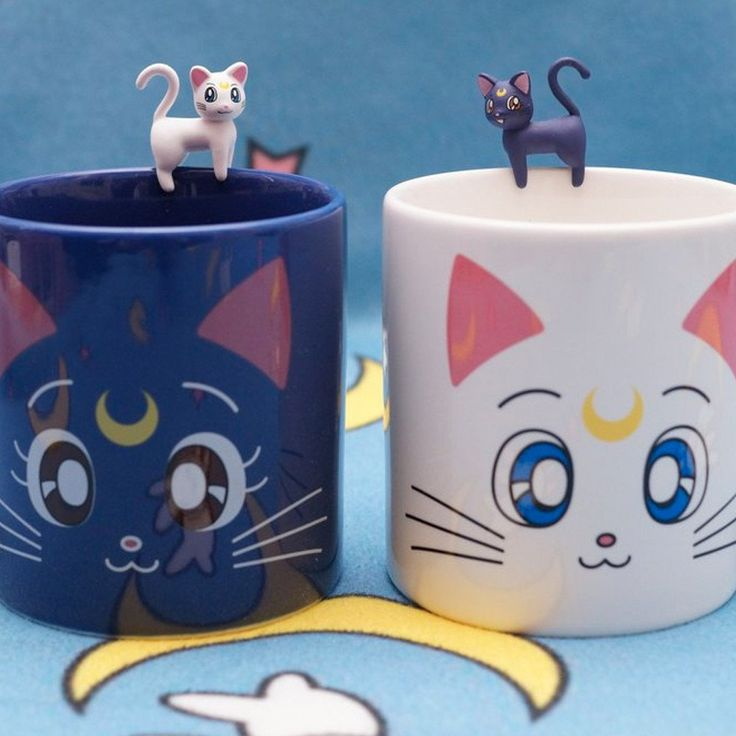 "The cutest Sailor Moon mugs ever! This is the Luna and Artemis mug set. Currently on sale so hurry, we have a limited supply! The set comes with both Luna and Artemis. The cups are 3.94"" tall and have"