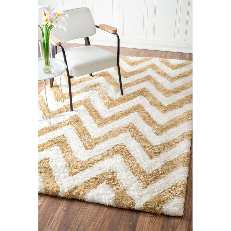 nuLOOM Handmade Cozy Soft and Plush Chevron Shag Rug (3u0027 x 5u0027) (Cocoa),  White, Size 3u0027 x 5u0027