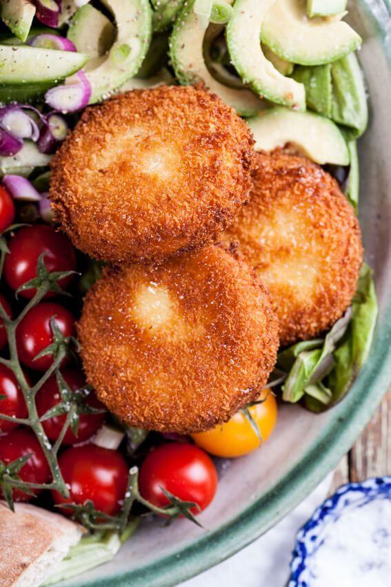 Greek salad with fried Feta cheese