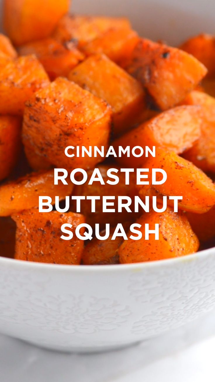 Simple roasted butternut squash recipe with cinnamon, brown sugar and a little cayenne. #appetizer #recipe #dinner #butternutsquash
