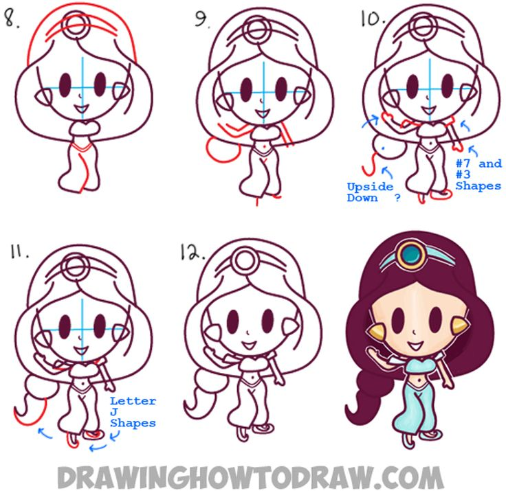 Learn How to Draw Cute Baby Kawaii Chibi Jasmine from Disney's Aladdin in Simple Step by Step Drawing Tutorial
