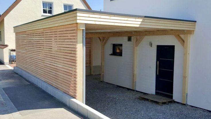 Flachdach Carport aus Holz (Fichte) mit Rhombus Wa…
