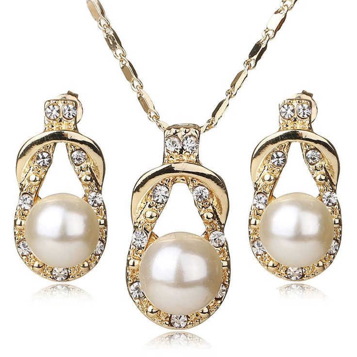 These lasso knot teardrop style gold plated faux pearl necklace & earring fashion jewelry set are just the definition of pure vintage elegance! ♥ I have pasted the link here somewhere in case anyone would love to know where to get them from..   #Pearl #Hot #New #Womens #Necklace #Earring #Jewelry #Set #Beautiful #Fashion #Jewelry #Teardrop #Lasso #Style
