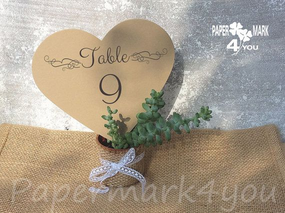 Kraft Big Hearts Table Number_ Highly by PaperMark4You on Etsy