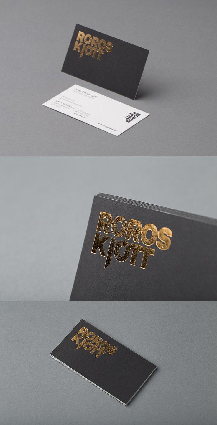 Røros Kjøtt - Visittkort med sort trykk og foliepreg. #visittkort