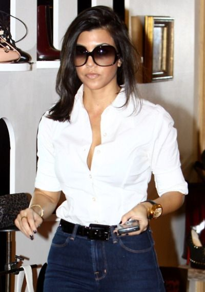 Classic white button down with dark high waist jeans...
