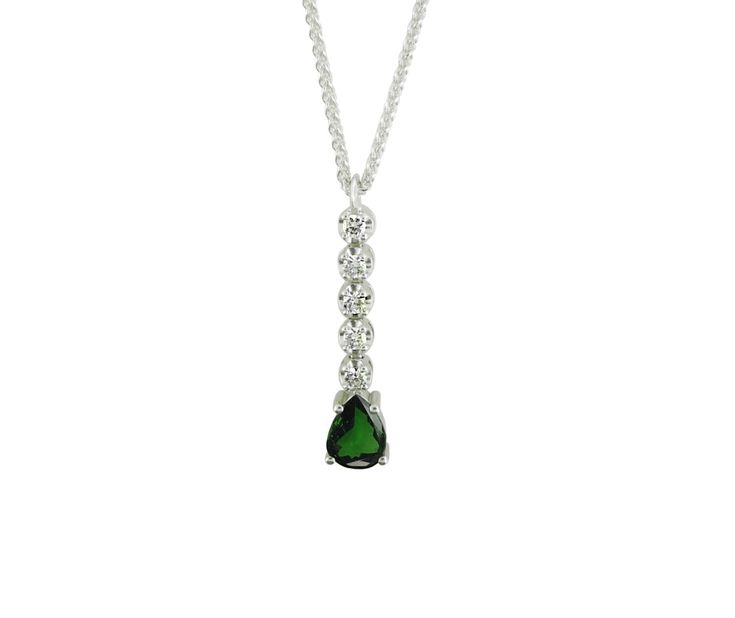 An 18ct White Gold, Diamond and Tsavorite Pendant