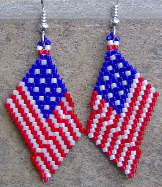 USA Flag Earrings Hand Made Seed Beaded