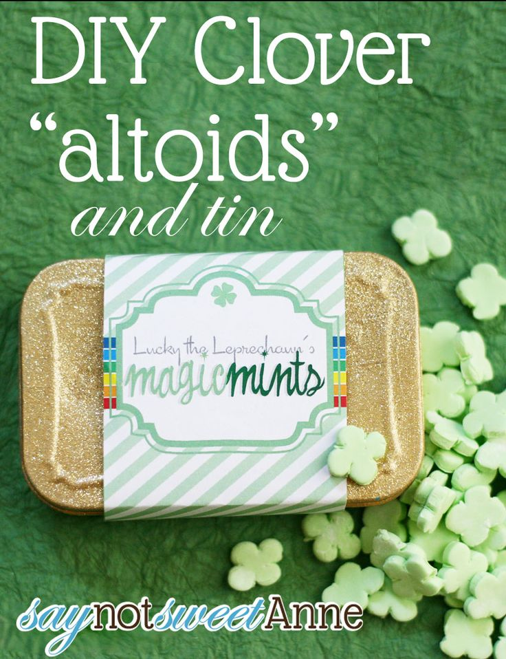 Make your own clover shaped mints with St. Patrick's Day Tin! | at Saynotsweetanne.com | #stpatricksday #green #irish