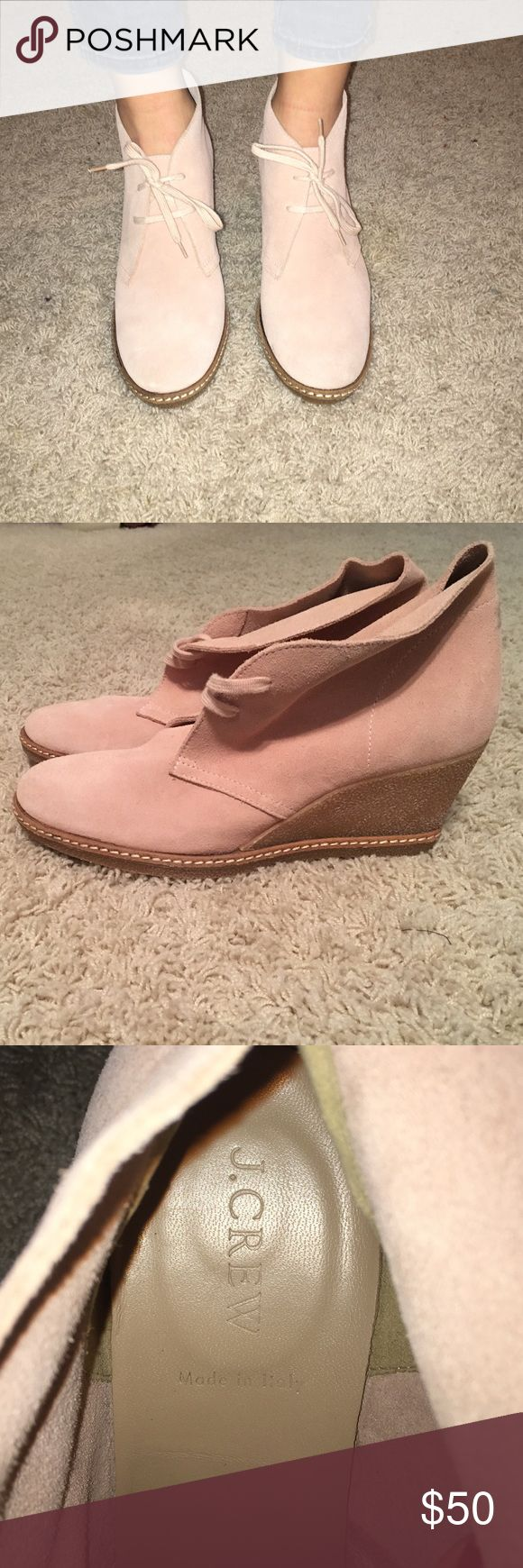J. Crew suede wedge ankle boots J. Crew suede wedge ankle boots. Never worn! Light pink in color J. Crew Shoes Ankle Boots & Booties
