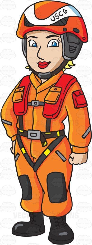A Female US Coast Guard Helicopter Pilot In A Flight Suit #cartoon #clipart #vector #vectortoons #stockimage #stockart #art