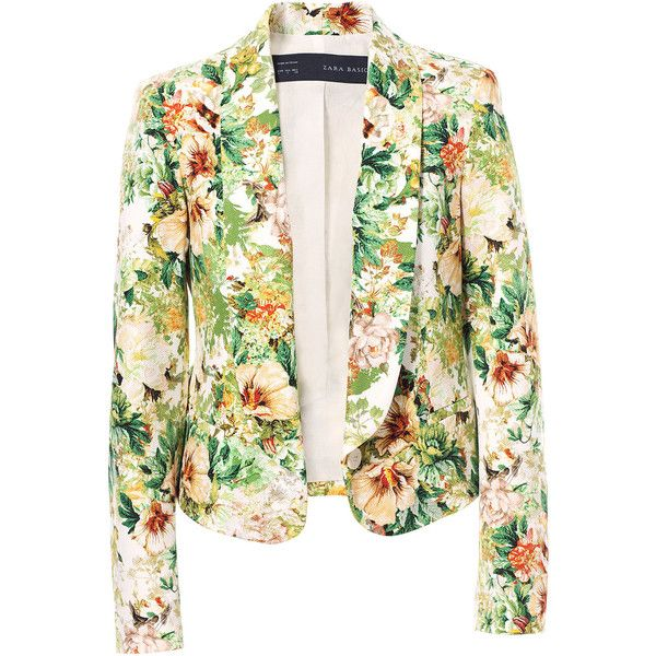 Zara Floral Print Blazer ($40) ❤ liked on Polyvore featuring outerwear, jackets, blazers, tops, coats, green, floral print jacket, floral blazer, flower print blazer and green blazer jacket