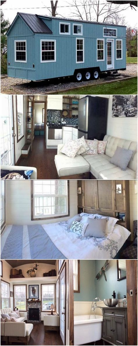 """Luxurious and Spacious Tiny House on Wheels for Sale for $89,500 - It's not often that you see a tiny house and automatically think of the word """"spacious"""" but that's exactly what we thought of when looking at this incredible tiny house for sale. The home is currently located in Ontario but can easily be moved since it's on wheels and road-ready. They're asking $89,500 which is a great price given all of the amenities this home packs in including a downstairs bedroom and fireplace!"""