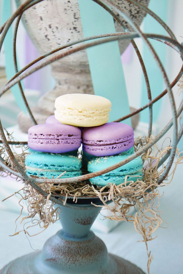 Purple and aqua macarons are pretty for Easter brunch. Bake Sale Toronto.
