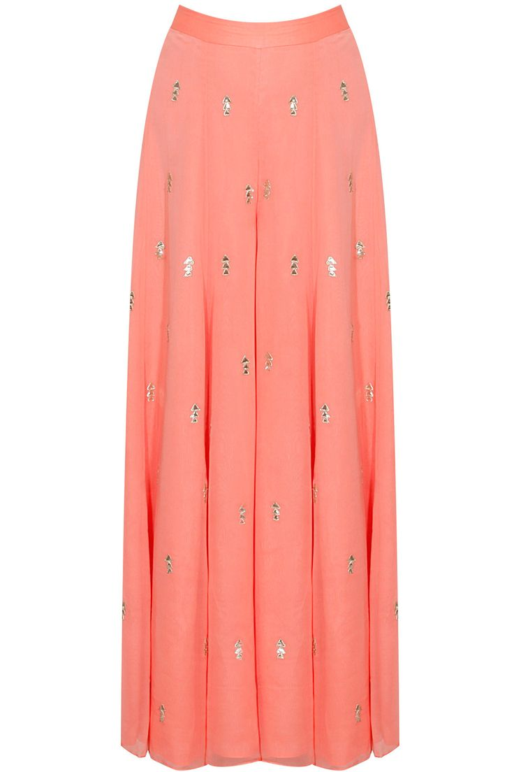 Coral gota patti embroidered motifs sharara pants available only at Pernia's Pop Up Shop.