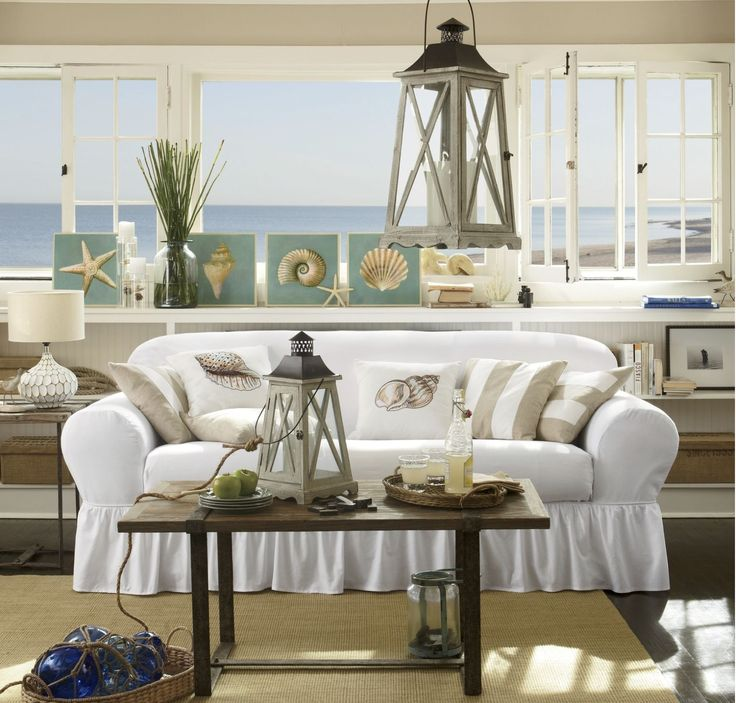 Tips & Solutions: Get the sand-and-surf look anywhere—no ocean required. Home accessories like lanterns, pillows and wall art recreate a sunny day at the beach with pops of soft blue, green and tan splashed with buttery yellow.