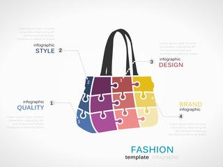 Fashion template with bag symbol