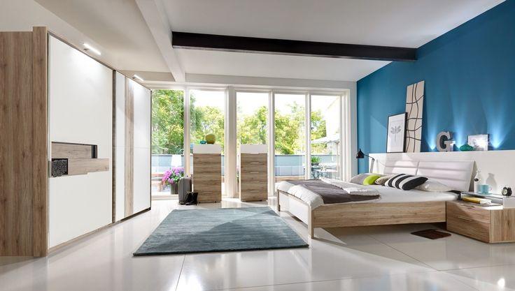Schlafzimmer komplett Diva Eiche + Alpinweiß 10433. Buy now at https://www.moebel-wohnbar.de/schlafzimmer-komplett-diva-eiche-alpinweiss-10433