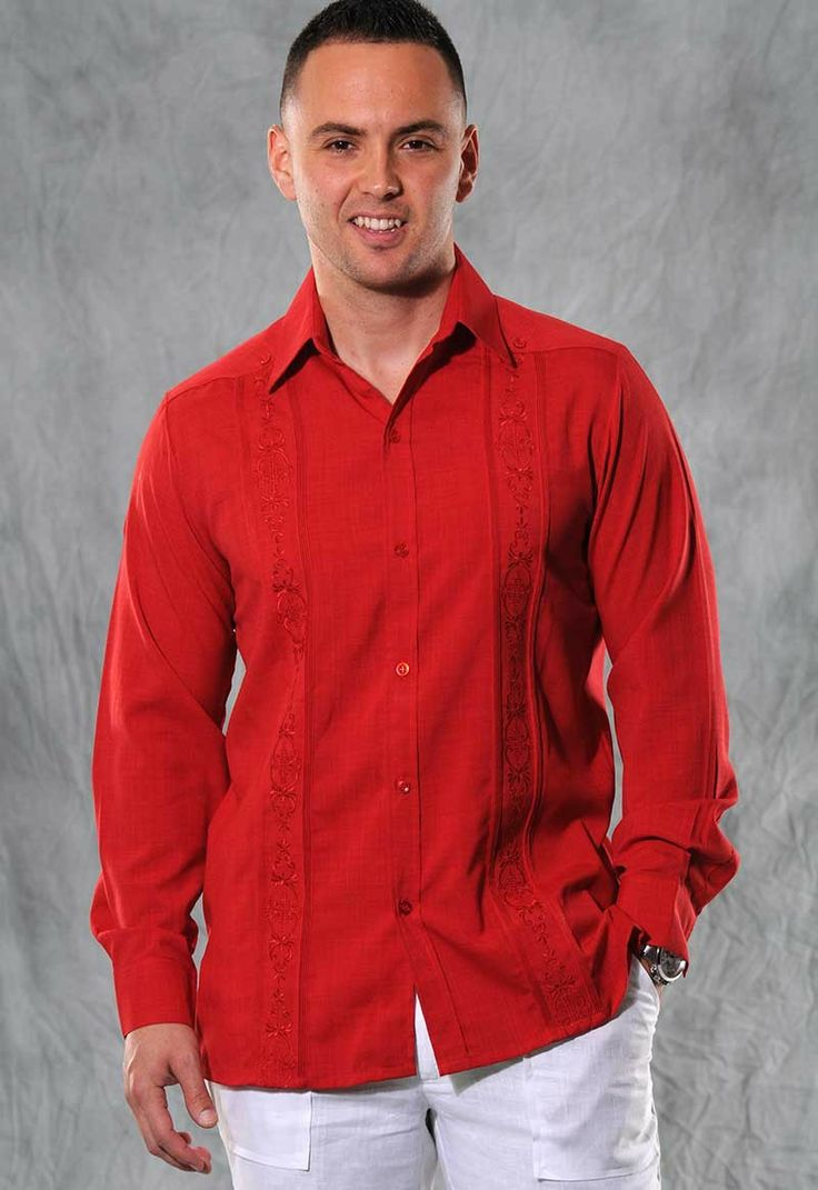 Embroidered Guayabera for men Linen Look Long Sleeve no