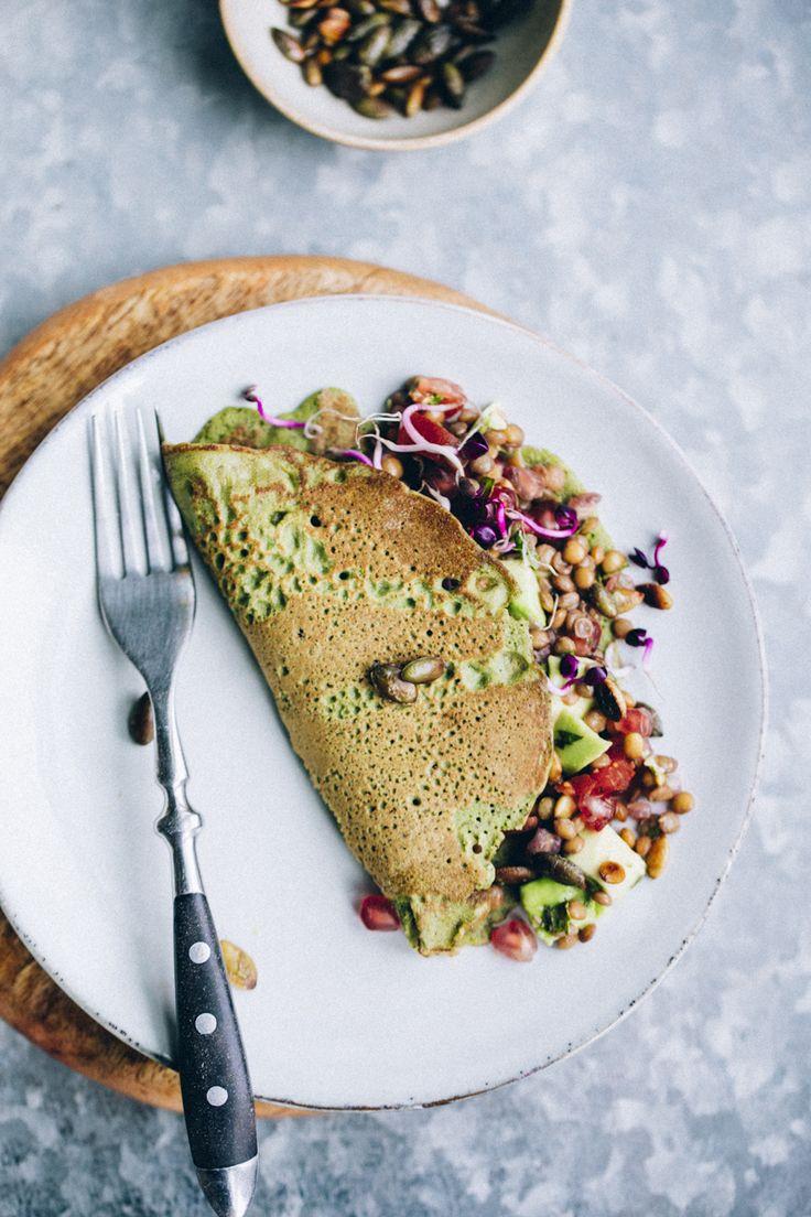 Crêpes with green lentil salad