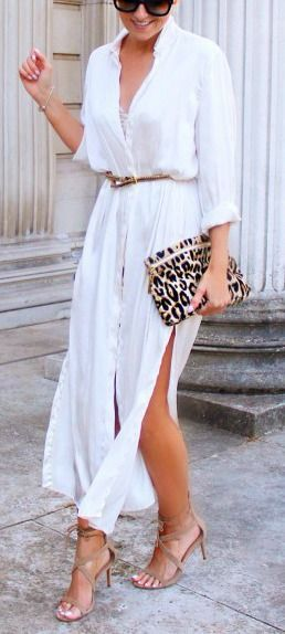 Robe longue blanche coton chemise sur http://larobelongue.fr/robe-longue-blanche/