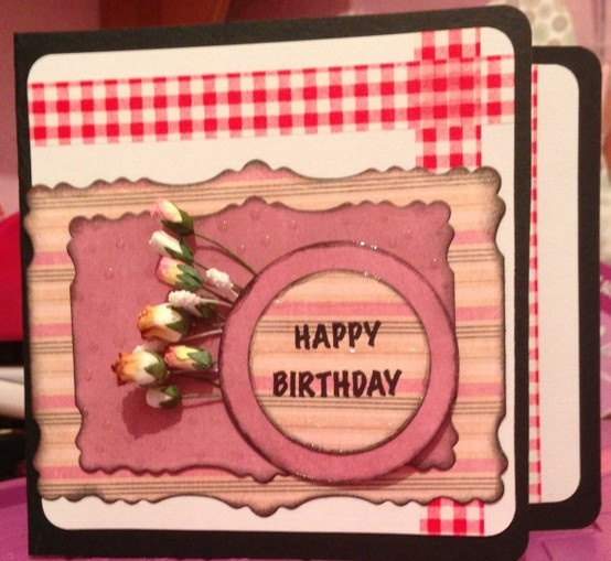 Washi tape and paper roses with stacked circle Happy 'Birthday' medallion!