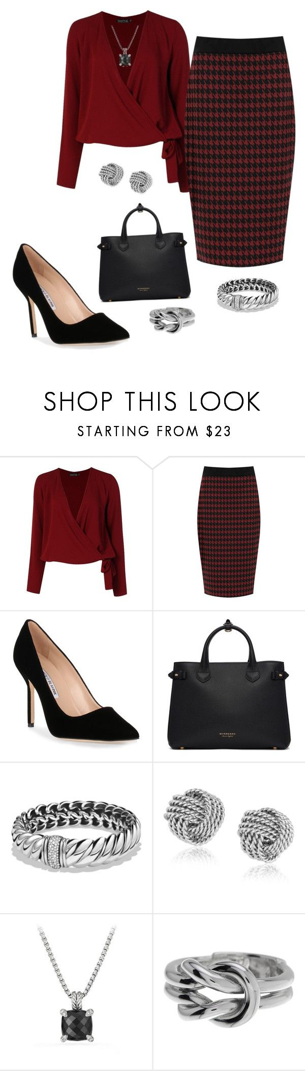 """""""Client Meeting"""" by sommer-reign ❤ liked on Polyvore featuring Boohoo, WearAll, Manolo Blahnik, Burberry, David Yurman, Gucci and plus size clothing"""