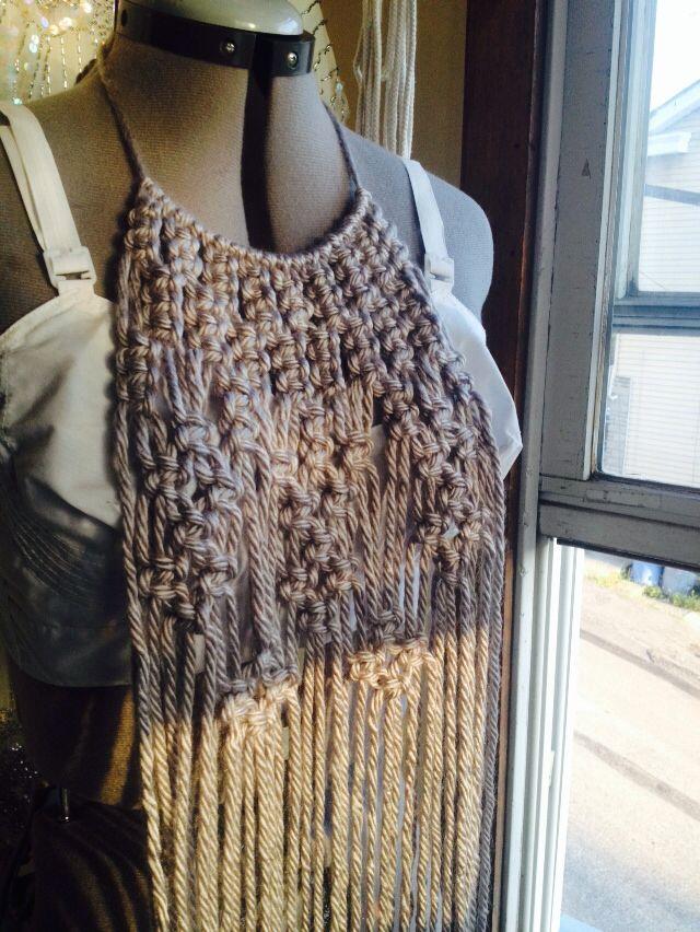 Macrame Boho Fringe Necklace Scarf Handmade. For Sale.