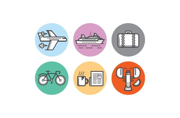 Travel Icons by Kevin Moran, via Behance #flat #design #icons