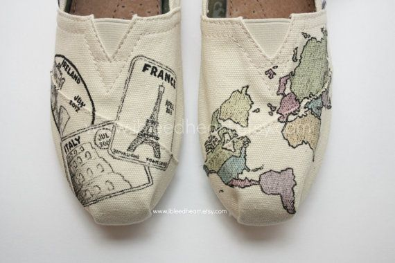 Custom Painted TOMS Shoes Passport Travel and World Map in Color by ibleedheART  Use coupon code PIN15 at checkout to receive 15% off your order! www.ibleedheart.com or www.ibleedheart.etsy.com