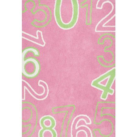 nuLOOM Machine Made Floating Numbers Area Rug, Pink