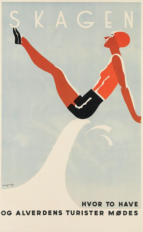 Travel poster by Viggo Vagnby (1896-1966), Skagen (Where two seas and all sorts of tourists meet), Denmark.