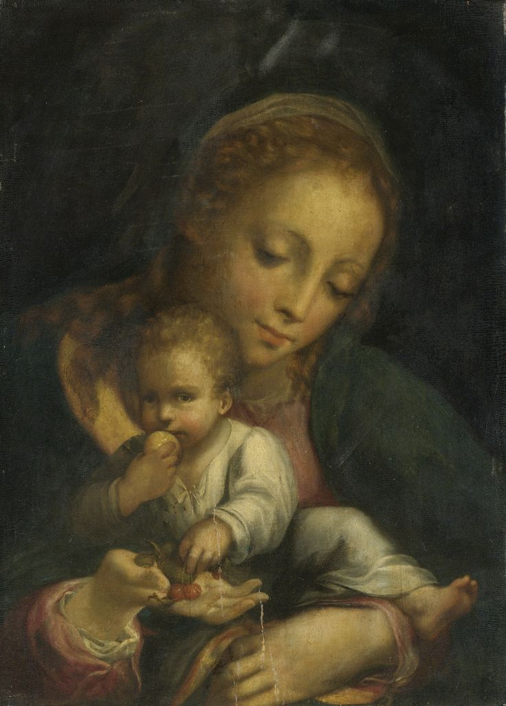 Circle of Correggio - Madonna and child, possibly second half of the 16th century