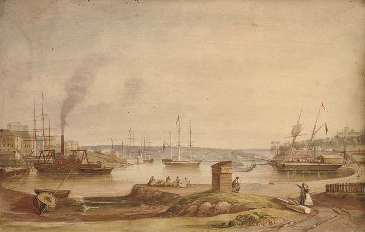 Sydney Cove from the new Circular Quay looking North, 1844, by Frederick Garling