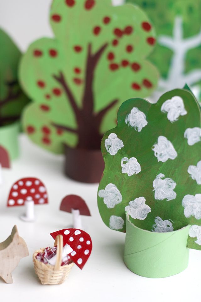 DIY recycled cardboard forest