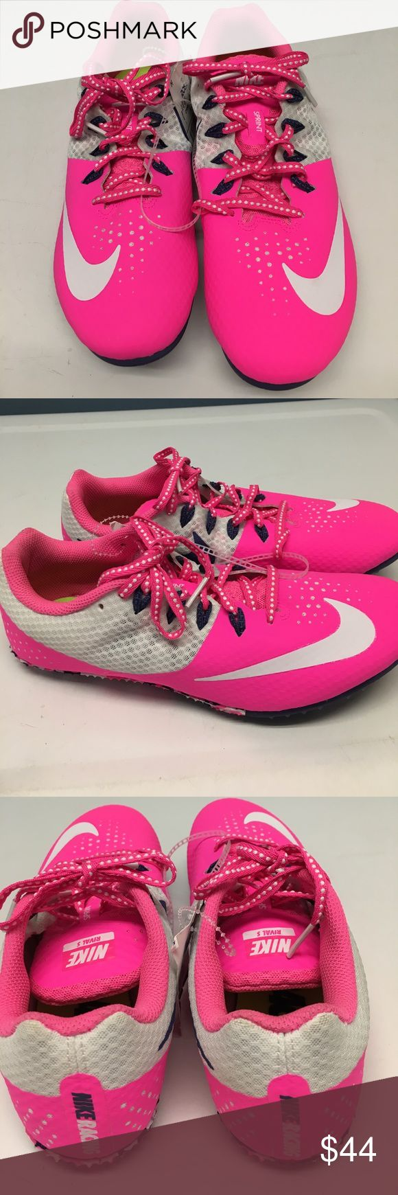 New Women's 8.5 Nike Racing Sprint Rival S Shoes New with tags Women's size 8.5 Nike Racing Rival S Sprint Shoes Cleats Spikes ~ pink, white & purple ~ UPC 00886548851973 ~ style #: 806558-615 ~ new with tags ~ no box or spikes Nike Shoes Sneakers
