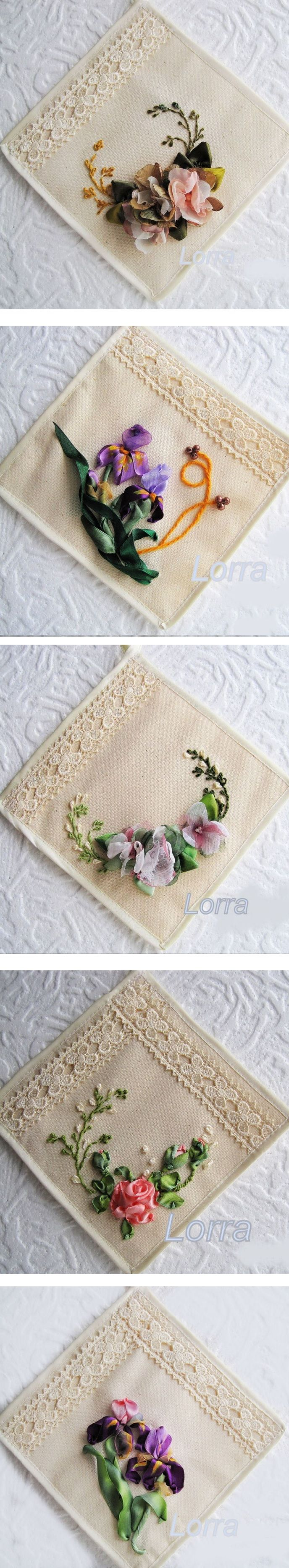 Neat idea for handmade coasters or small table mats - love the use of ribbonwork, simple embroidery stitches and handmade flowers for decorating! :)