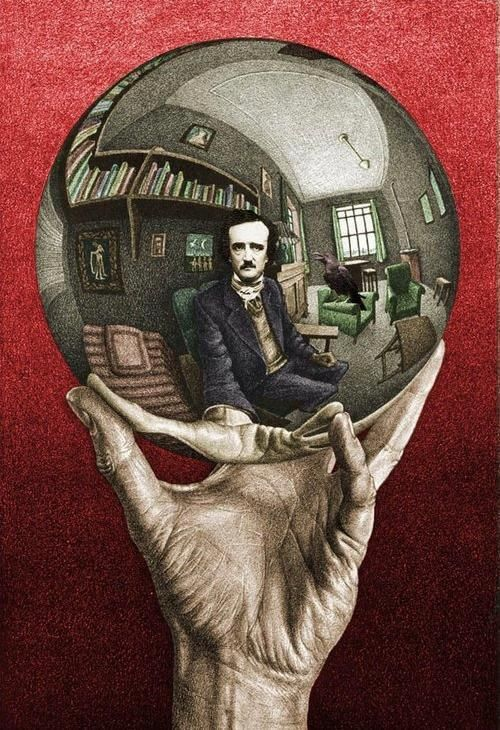 M.C. Escher's Hand with Reflecting Sphere except with Edgar Allen Poe's reflection.