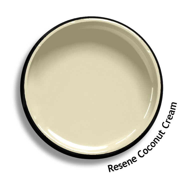 Resene Coconut Cream is a refreshing creamy hue with a hint of green. Try Resene Coconut Cream with moody grey greens, deep greys or rich warm taupes such as Resene Half Innocence, Resene Gumboot or Resene Triple Truffle. From the Resene The Range fashion colours. Latest trends available from www.resene.co.nz. Try a Resene testpot or view a physical sample at your Resene ColorShop or Reseller before making your final colour choice.
