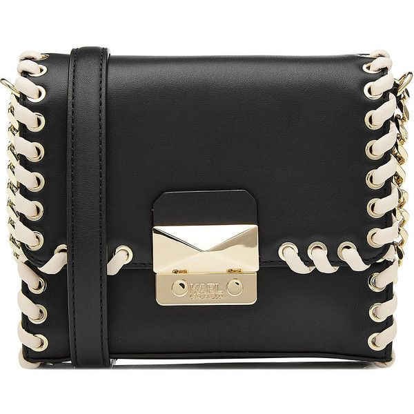 Karl Lagerfeld Leather Shoulder Bag (1 405 PLN) ❤ liked on Polyvore featuring bags, handbags, shoulder bags, black, karl lagerfeld, real leather purses, 100 leather handbags, karl lagerfeld handbags and leather handbags