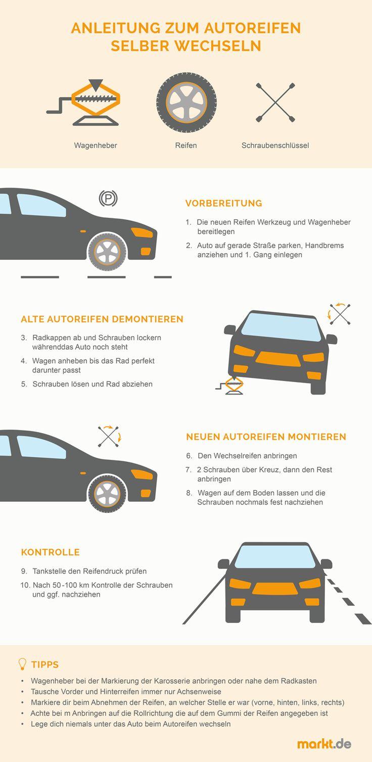 Autoreifen wechseln   Ratgeber auf markt.de #car #auto #autoreifen #reifenwechseln #diy